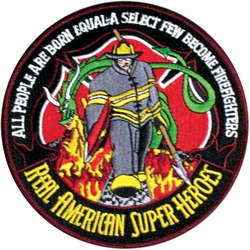 Firefighters Real American Super Hereos Back Patch (5 inch)