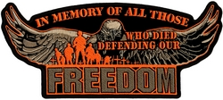 Defending Our Freedom Back Patch (11 X 5 inch)
