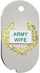 Army Wife Wreath Dog Tag Necklace