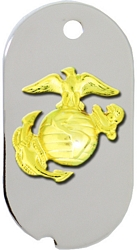 United States Marine Corp Eagle, Globe, & Anchor (EGA) Dog Tag Necklace - GOLD