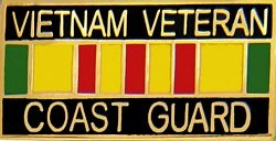 Vietnam Veteran United States Coast Guard with Ribbon Pin (1 1/8 inch)