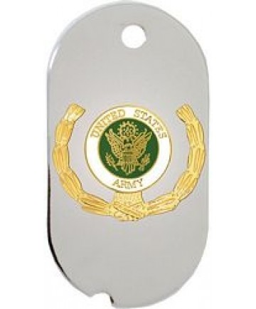 United States Army Insignia with Wreath Dog Tag Necklace