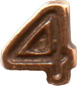 Bronze Numeral - 4 for Ribbon Bars, Mini Medals, and Full Size Medals ((3/16) inch)