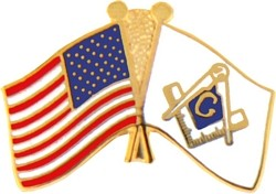 United States & Masonic Crossed Flags Pin (7/8' inch)