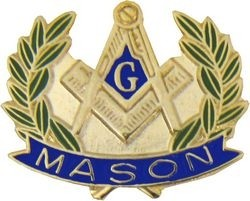 Masonic Symbol with Wreath Pin (7/8 inch)