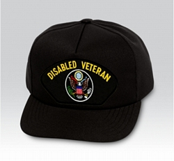 Disabled Veteran with US Insignia Black Ball Cap US Made