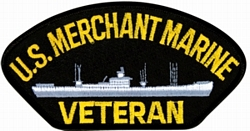 US Merchant Marine Veteran with Ship Black Patch (4 inch)