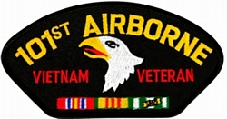 101st Airborne Vietnam Veteran with Ribbons Black Patch (4 inch)