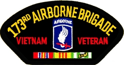173rd Airborne Brigade Vietnam Veteran with Ribbons Black Patch (4 inch)