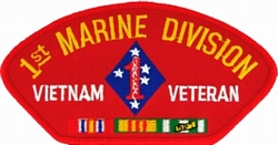 1st Marine Division Vietnam Veteran with Ribbons Red Patch (4 inch)