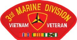 3rd  Marine Division Vietnam Veteran with Ribbons Red Patch (4 inch)