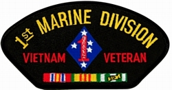 1st Marine Division Vietnam Veteran with Ribbons Black Patch (4 inch)
