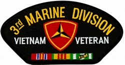 3rd Marine Division Vietnam Veteran with Ribbons Black Patch (4 inch)