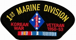 1st Marine Division Korean War Veteran with Ribbons Black Patch (4 inch)
