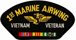 1st Marine Airwing Vietnam Veteran with Ribbons Black Patch (4 inch)