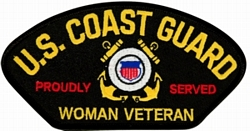 US Coast Guard Proudly Served Woman Veteran Insignia Black Patch (4 inch)